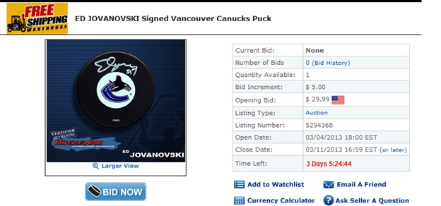 Ed Jovanski hockey auction