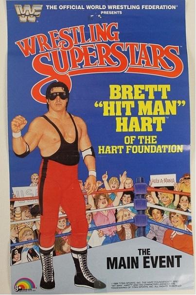 BRET HITMAN HART WWF LJN POSTER BRETT HART WWE VARIANT HART FOUNDATION