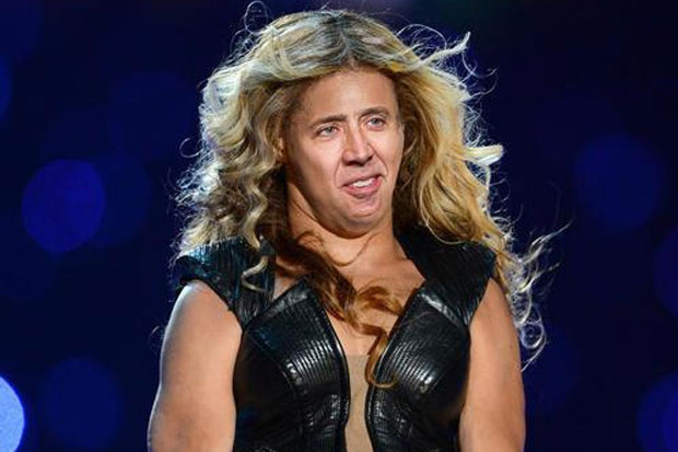 Nicolas Cage Beyonce funny face faceoff hilarious parody picture