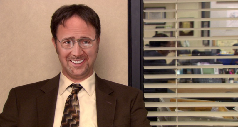 Nicolas Cage The Office Dwight Shrute Rainn Wilson funny face faceoff parody weird strange picture nic