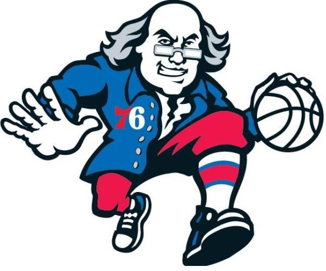 Philadelphia 76ers Ben Franklin secondary logo Sixers dribbling weird funny NBA