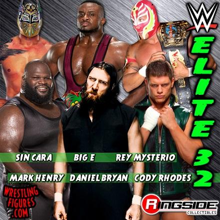 WWE Elite Series 32 Lineup Daniel Bryan Rey Mysterio Sin Cara Cody Rhodes Big E Mark Henry Mattel