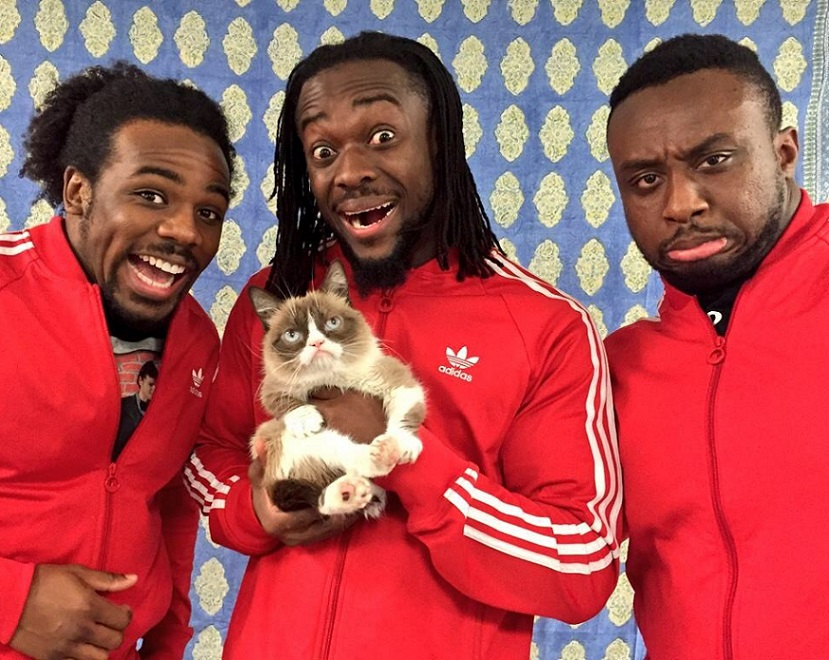 The New Day Kofi Kingston Xavier Woods Big E Langston WWE Grumpy Cat