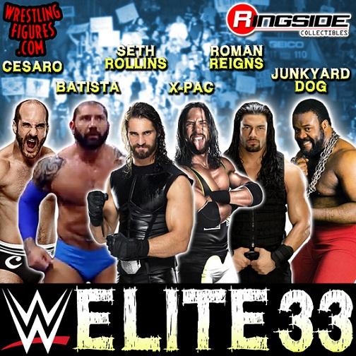 WWE Elite 33 series Xpac Bluetista Roman Reigns Junkyard Dog Seth Rollins Cesaro