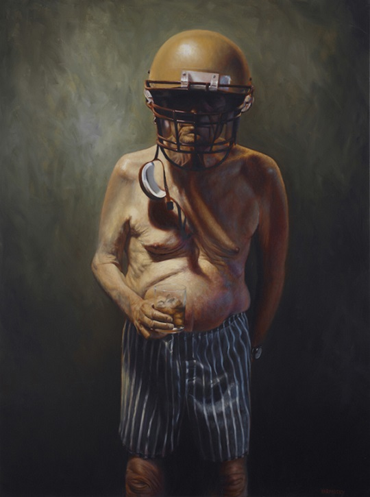 funny painting old guy football helmet scotch tightend yarmosky