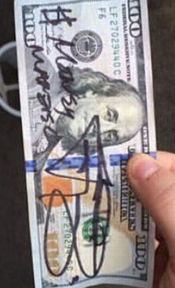 manziel 100 dollar bill autograph signed