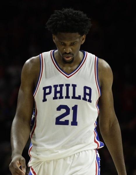 Joel Embiid Philadelphia 76ers NBA basketball sad