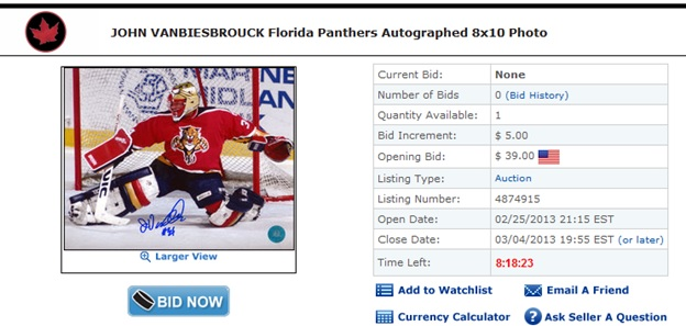 John+VanBiesBrouck+Autograph+Photo+Florida+Panthers