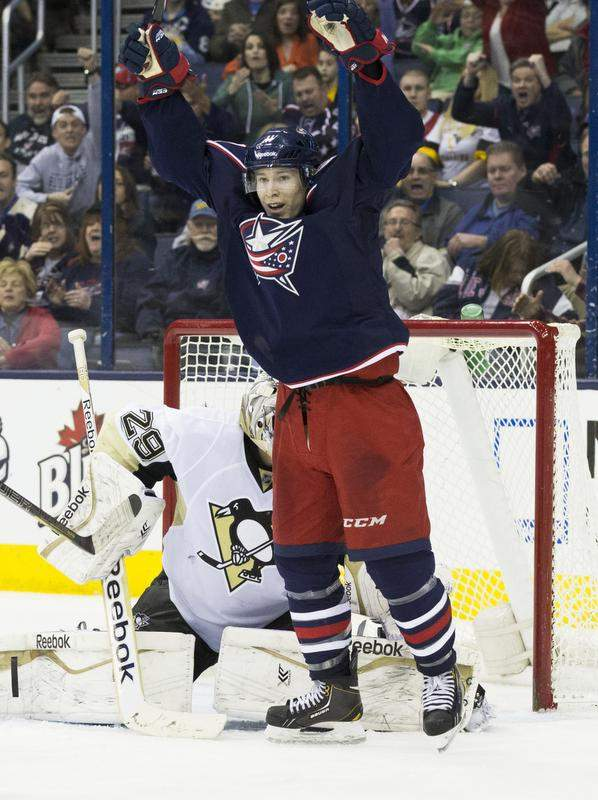 Matt Calvert Columbus Blue Jackets Pittsburgh Penguins Playoff Win 2014 NHL