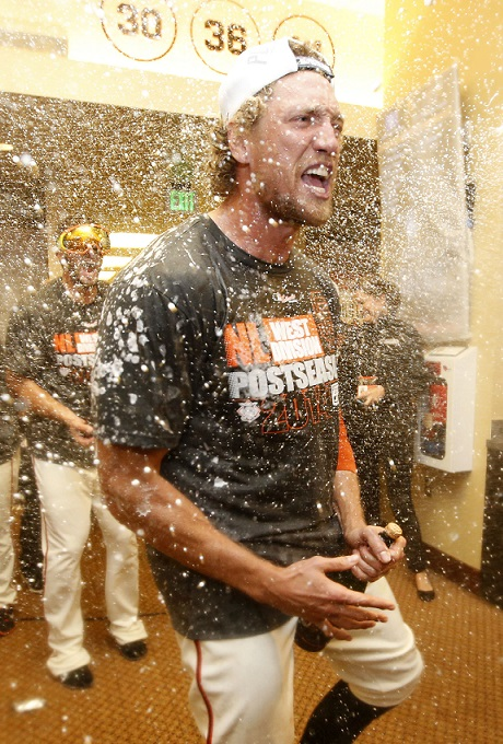 San Francisco Giants Hunter Pence 2014 Celebration