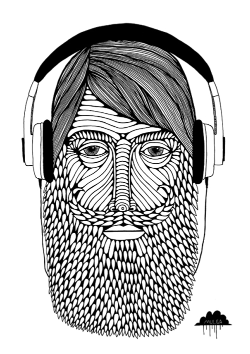 Hipster Music Playlist mulga-the-artist-illustration-drawing-artwork-picture-of-man-wearing-headphones-beard-curly-moustache-bearded-gentleman-illustrator joel moore hipster