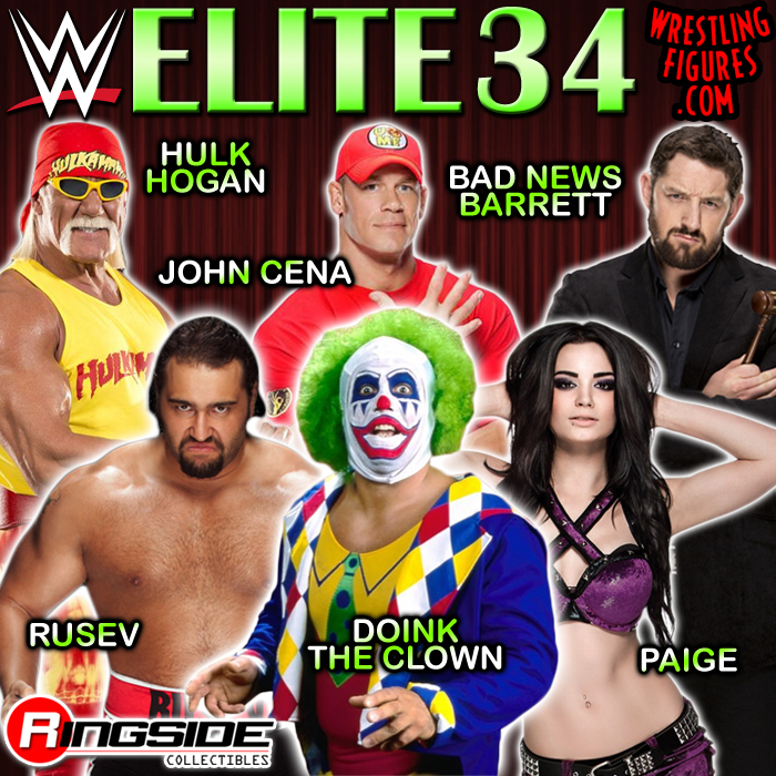 WWE Elite series 34 Rusev Doink Hulk Hogan Bad News Barrett Paige John Cena Mattel toys
