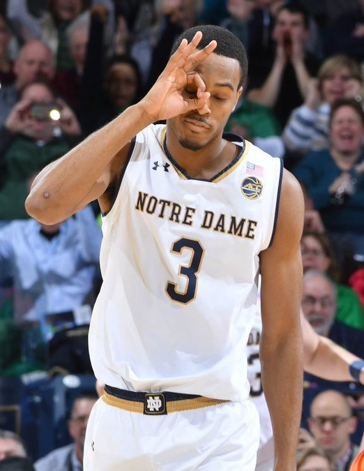 2017 VJ Beachem Notre Dame Fighting Irish March Madness NCAA Tournament