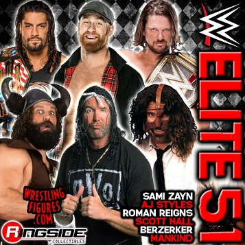 2017 WWE Elite 51 Scott Hall Berzerker Roman Reigns Sami Zayn Mankind AJ Styles Flashback